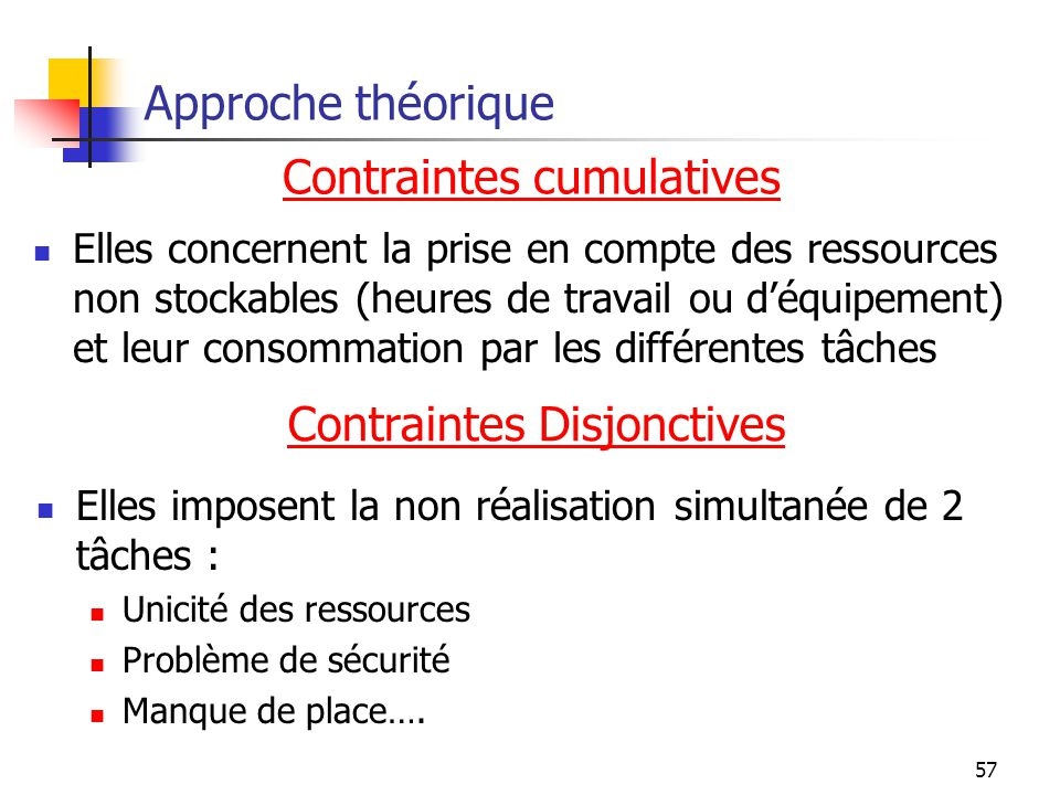 Contraintes cumulatives
