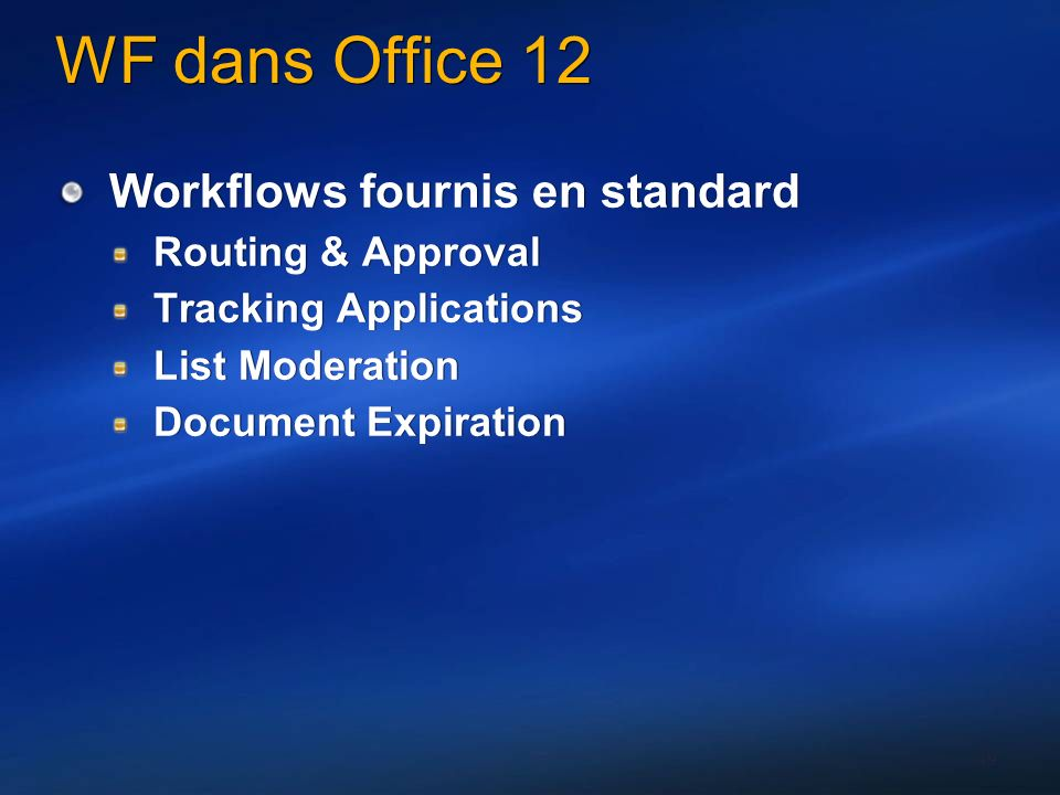 WF dans Office 12 Workflows fournis en standard Routing & Approval