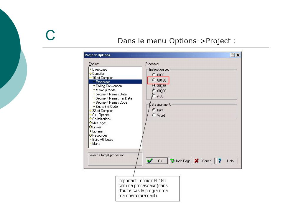 C Dans le menu Options->Project :
