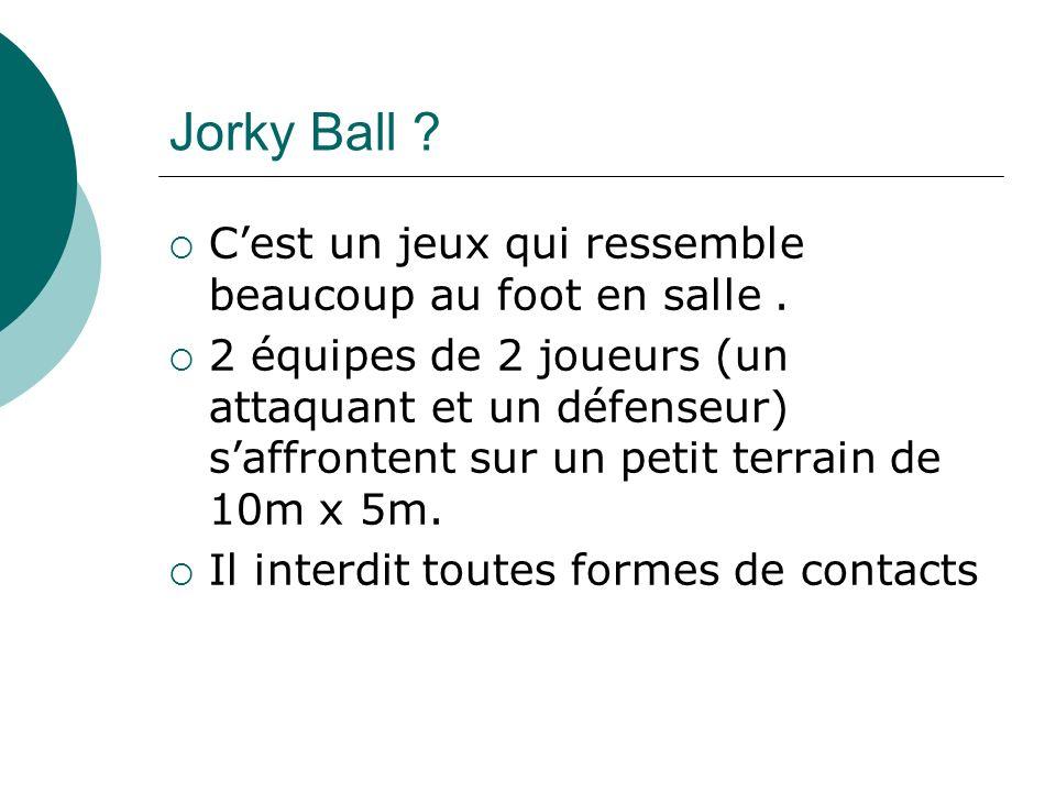 Jorky Ball C'est un jeux qui ressemble beaucoup au foot en salle .