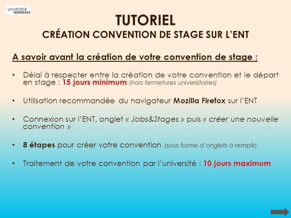 TUTORIEL CRÉATION CONVENTION DE STAGE SUR L'ENT