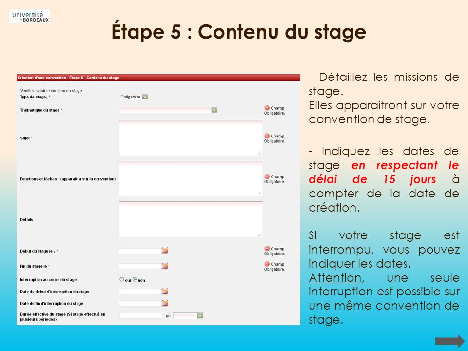 Étape 5 : Contenu du stage