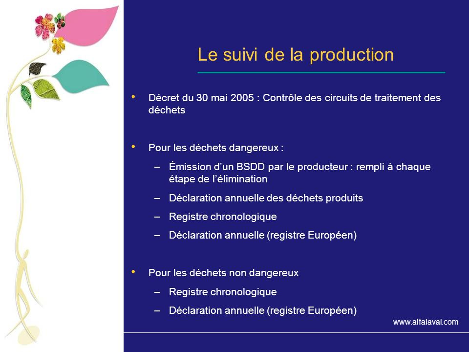 Le suivi de la production