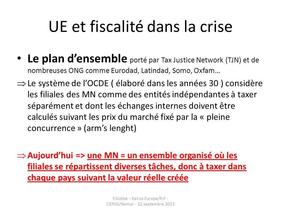 UE et fiscalité dans la crise