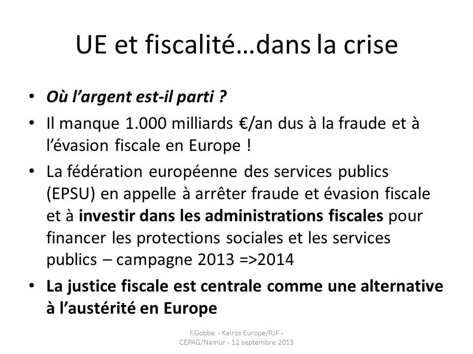 UE et fiscalité…dans la crise