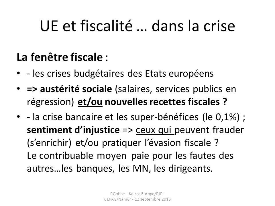 UE et fiscalité … dans la crise