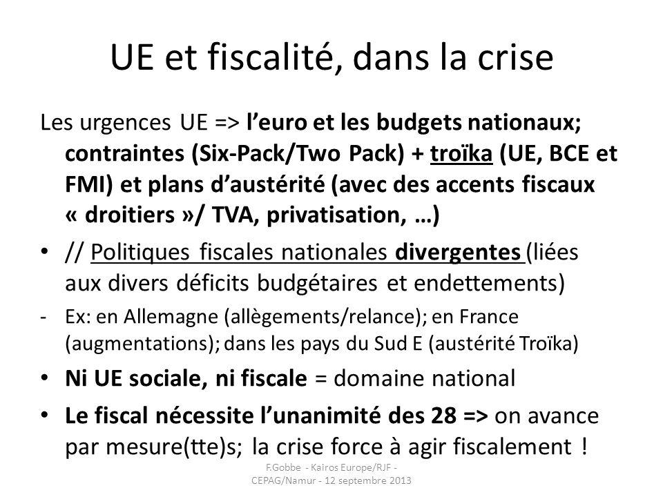 UE et fiscalité, dans la crise