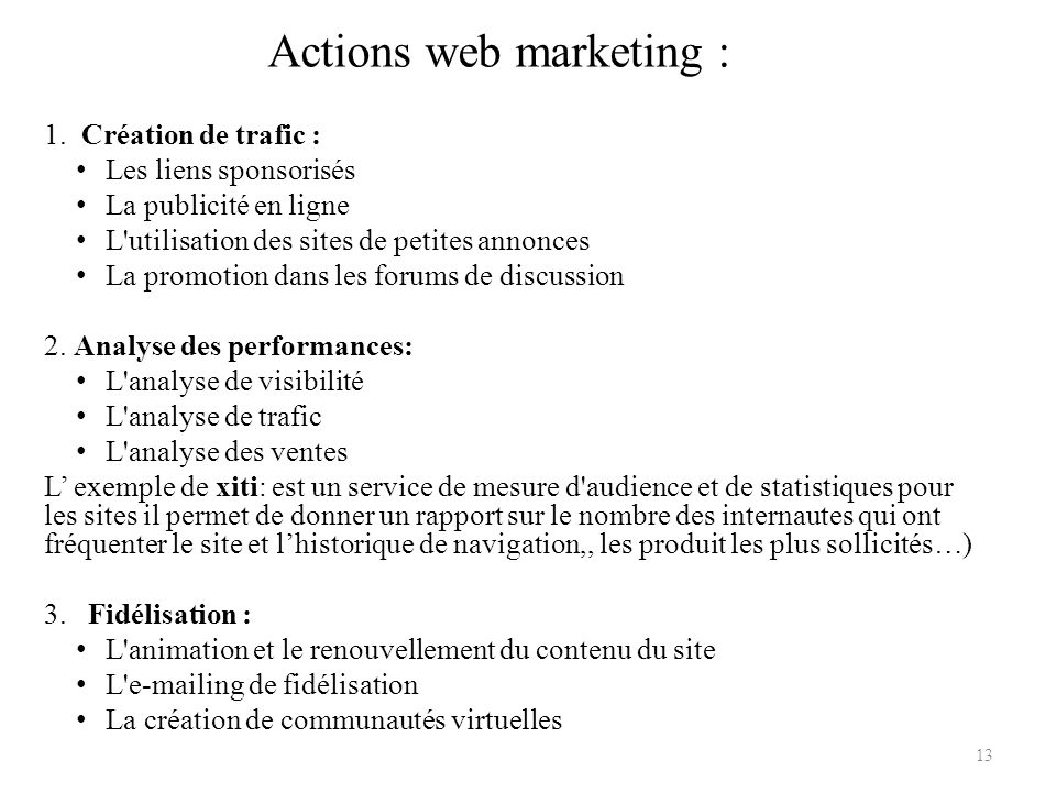 Actions web marketing :