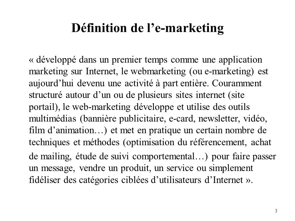 Définition de l'e-marketing