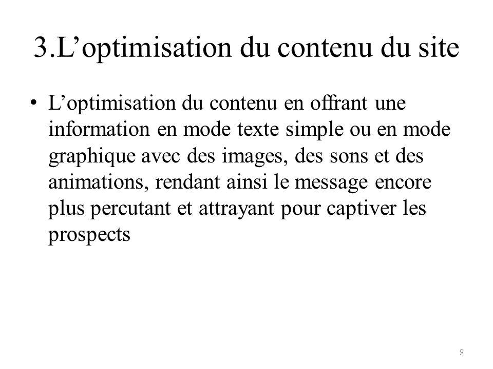3.L'optimisation du contenu du site