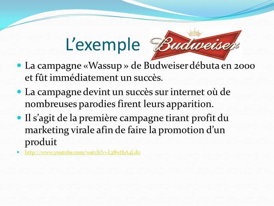 L'exemple La campagne «Wassup » de Budweiser débuta en 2000 et fût immédiatement un succès.
