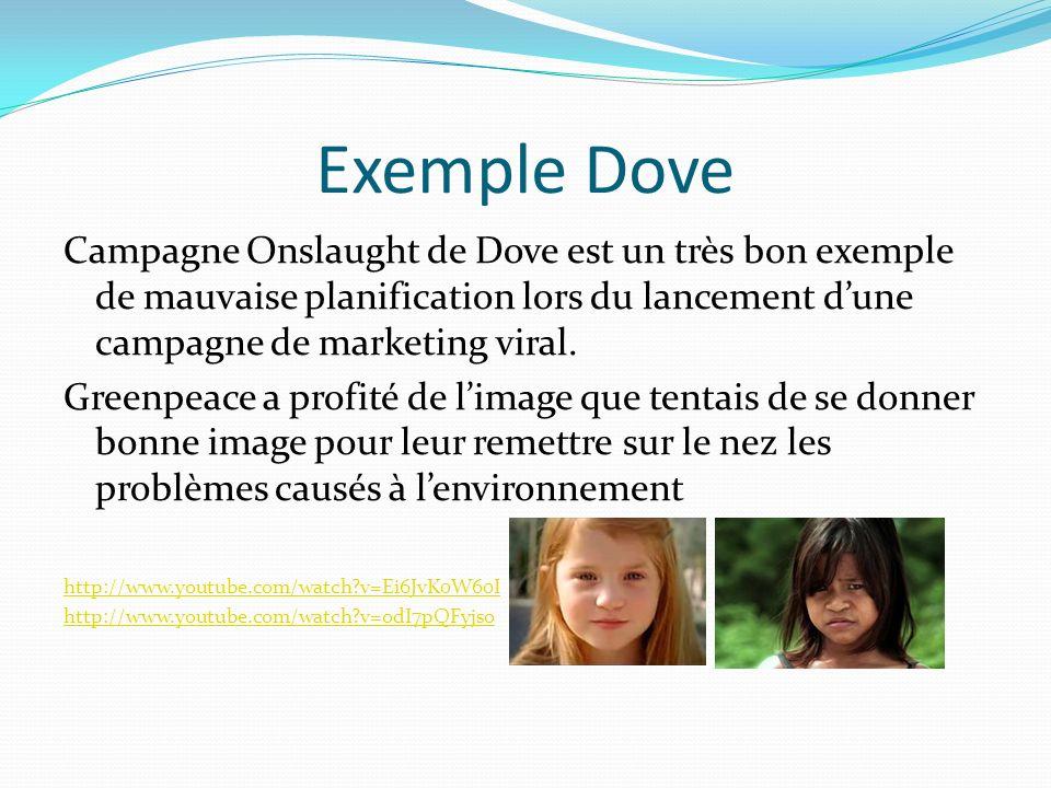 Exemple Dove Campagne Onslaught de Dove est un très bon exemple de mauvaise planification lors du lancement d'une campagne de marketing viral.