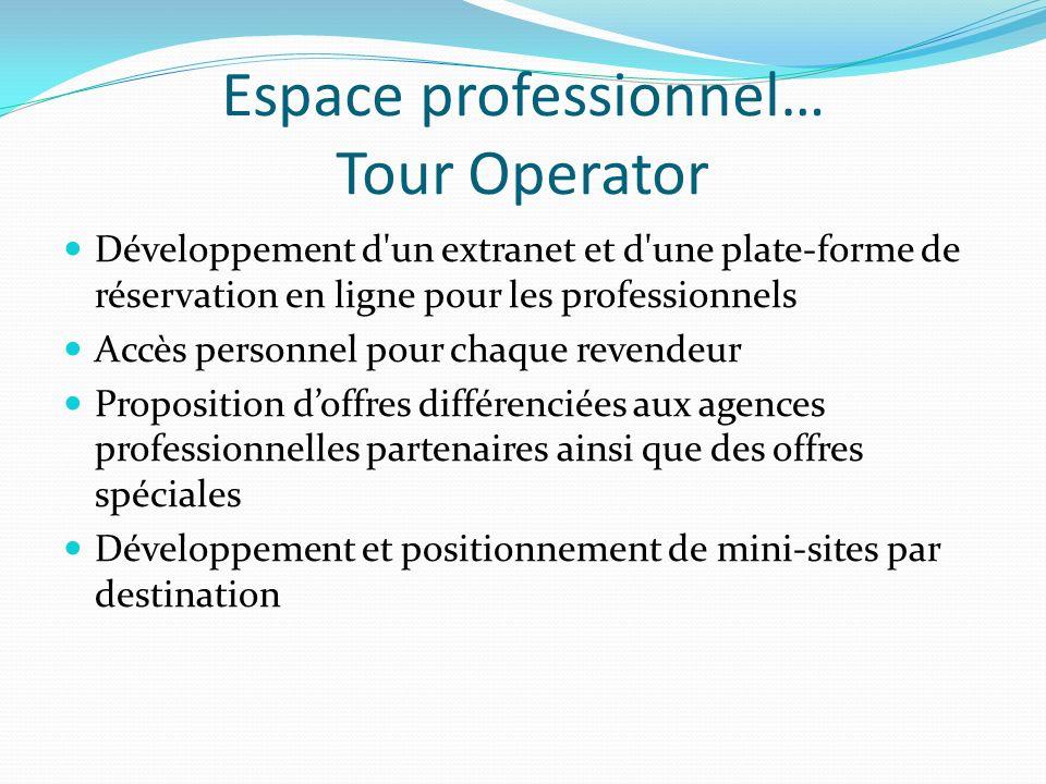 Espace professionnel… Tour Operator
