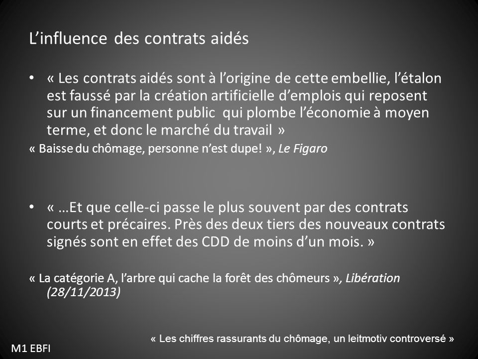L'influence des contrats aidés