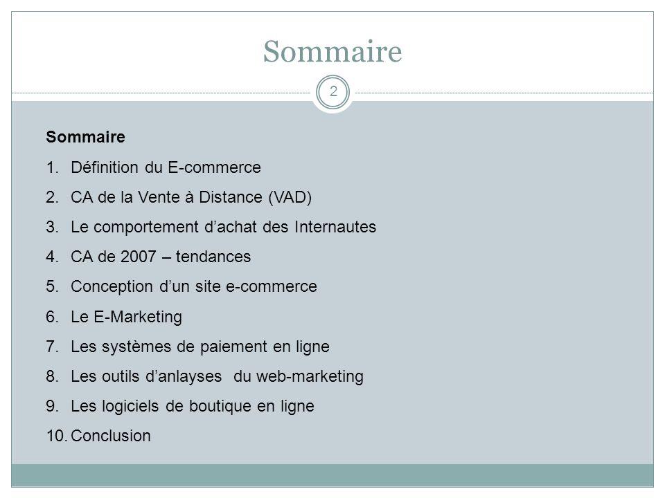 Sommaire Sommaire Définition du E-commerce