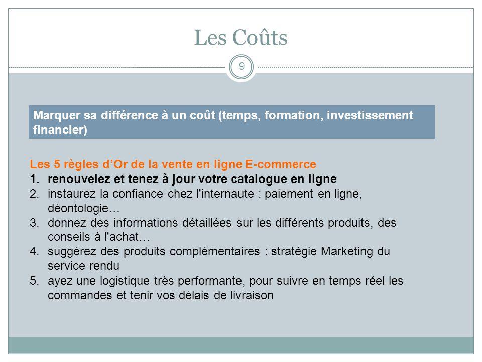 Les Coûts Marquer sa différence à un coût (temps, formation, investissement financier) Les 5 règles d'Or de la vente en ligne E-commerce.