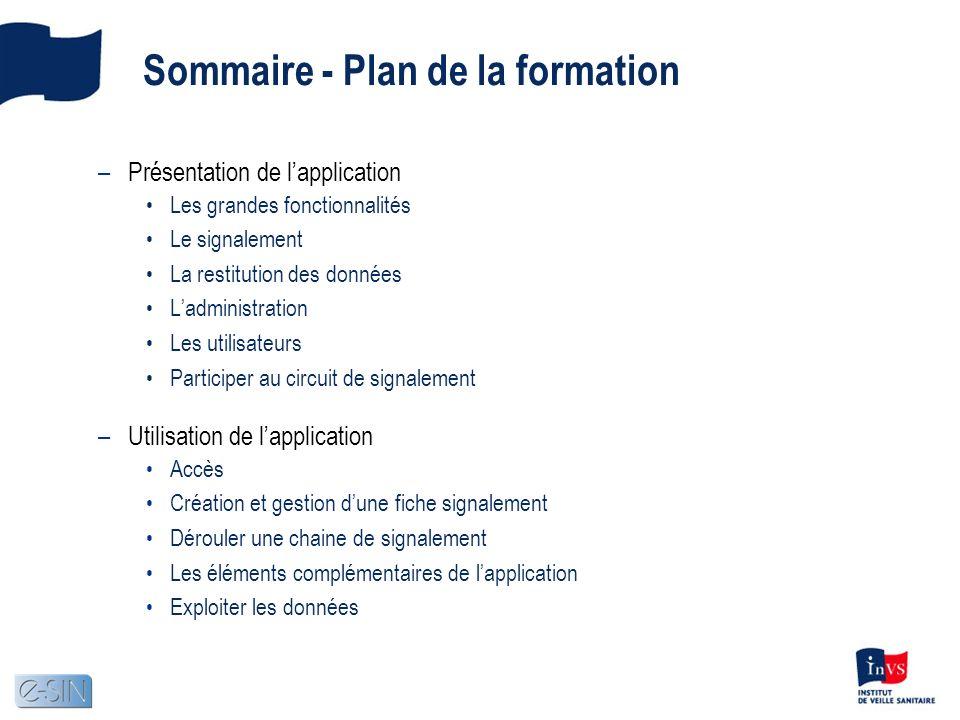 Sommaire - Plan de la formation