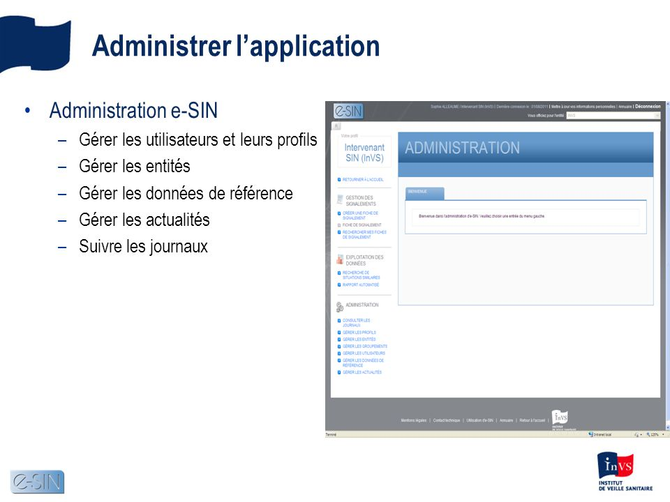 Administrer l'application