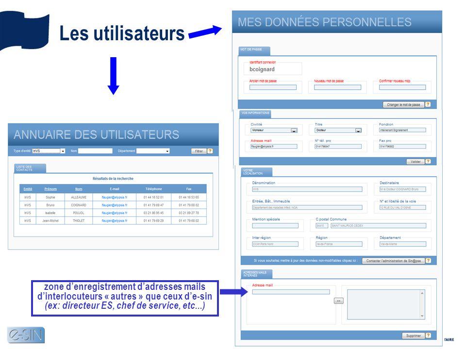 Les utilisateurs zone d'enregistrement d'adresses mails d'interlocuteurs « autres » que ceux d'e-sin (ex: directeur ES, chef de service, etc...)