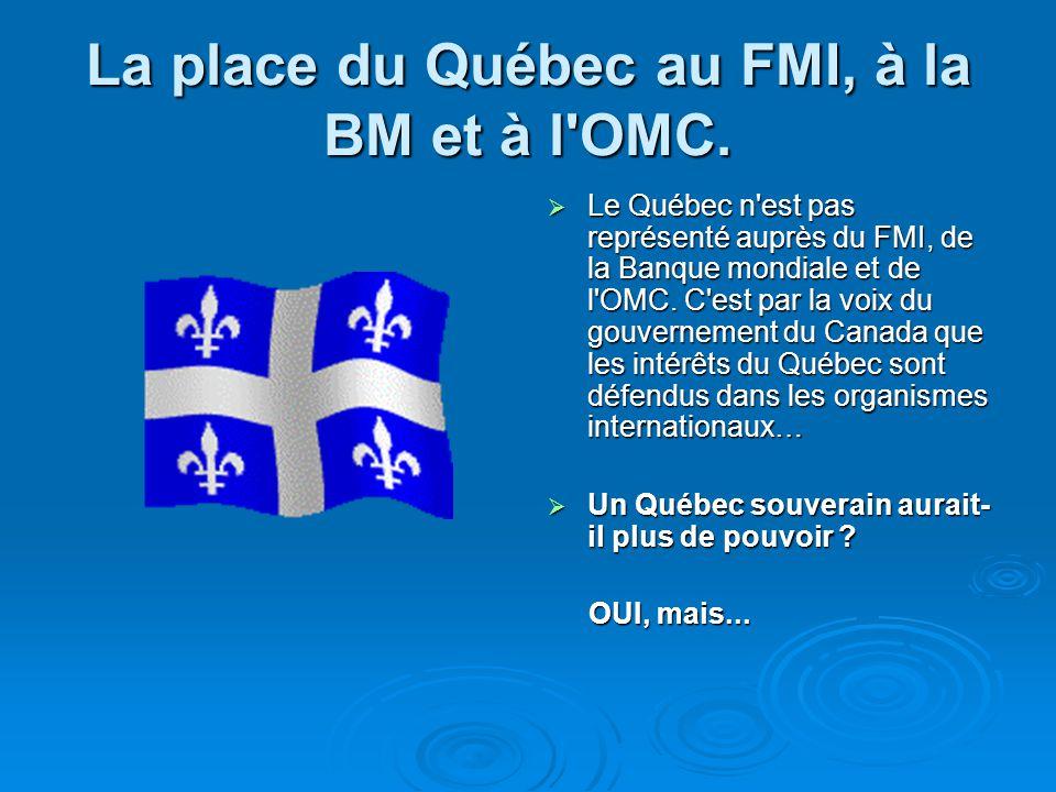 La place du Québec au FMI, à la BM et à l OMC.