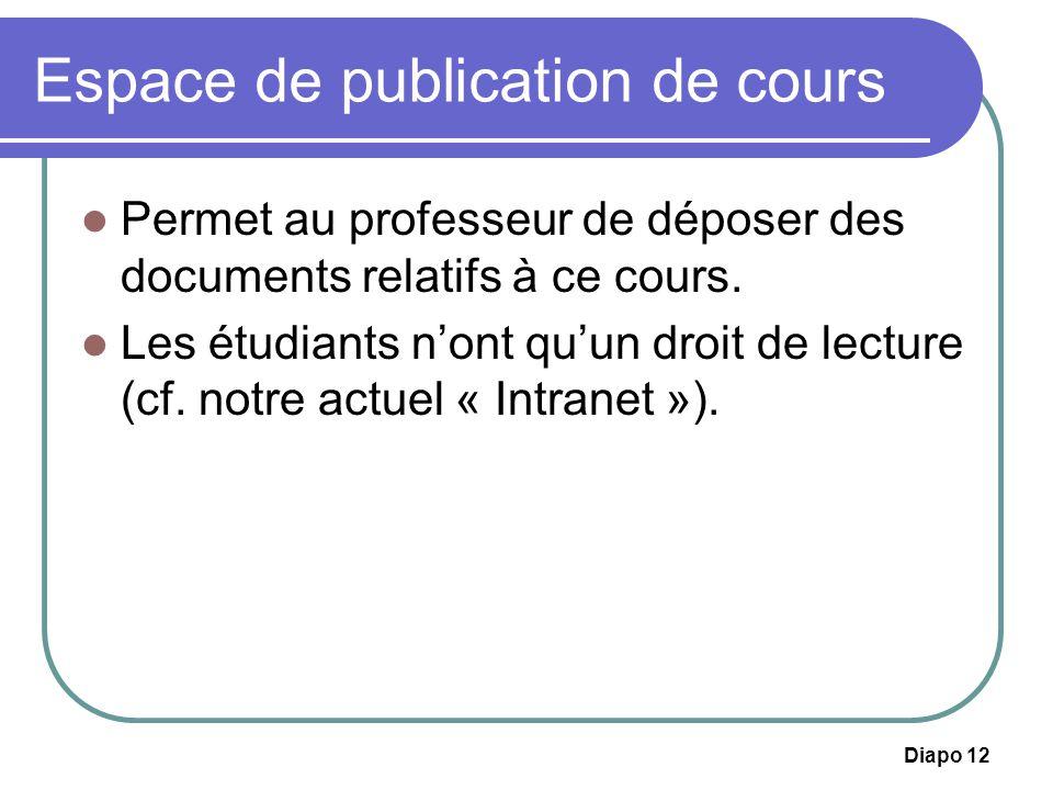 Espace de publication de cours