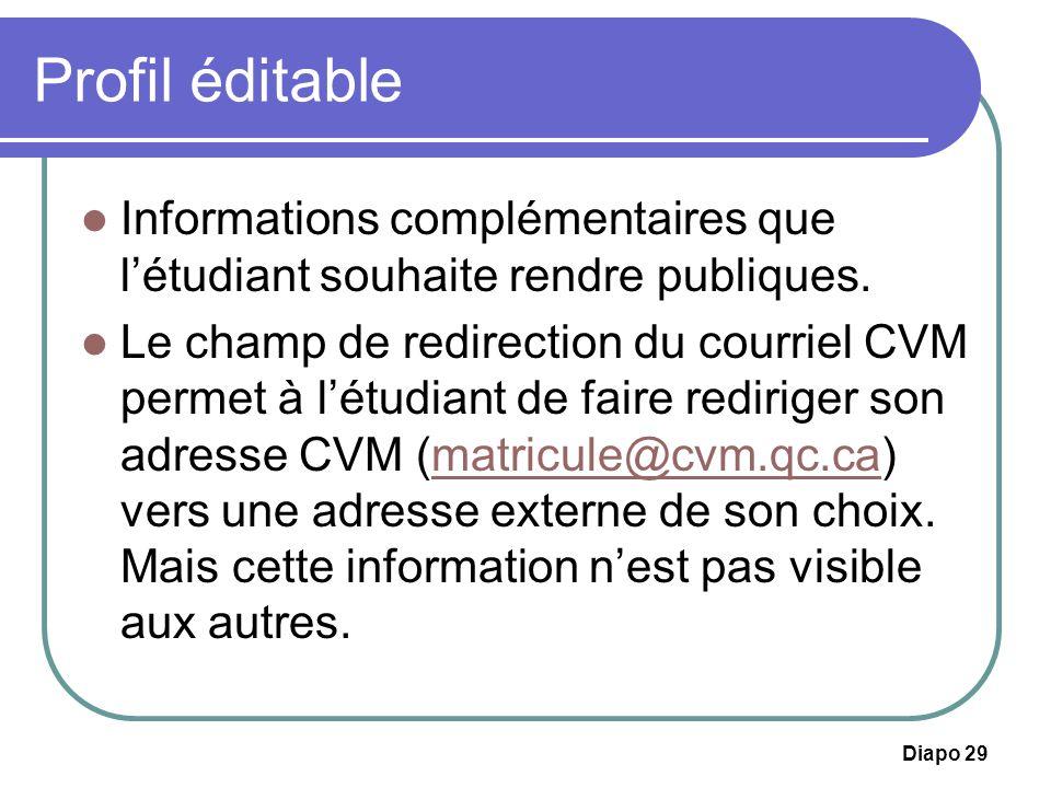 Profil éditable Informations complémentaires que l'étudiant souhaite rendre publiques.