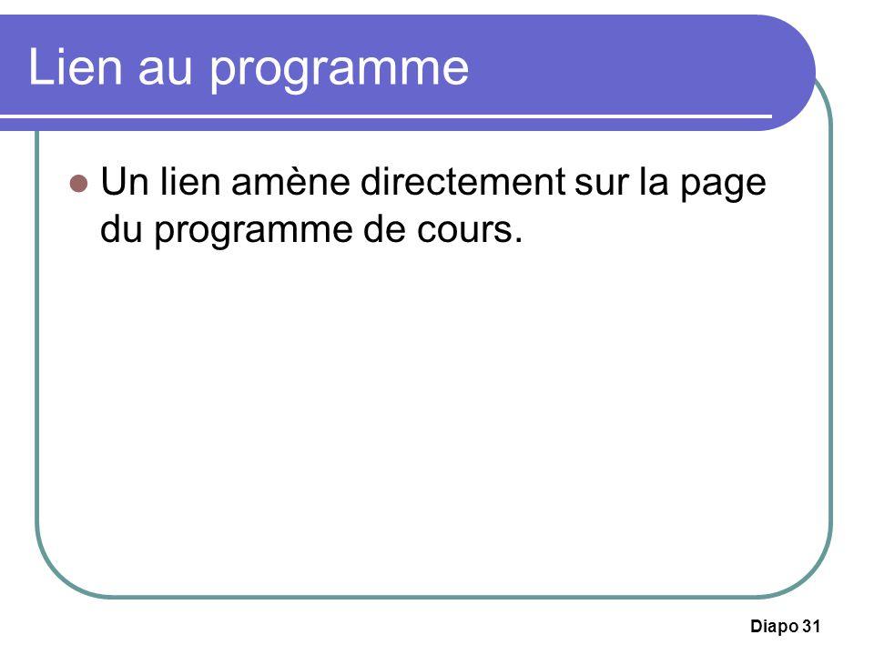 Lien au programme Un lien amène directement sur la page du programme de cours.