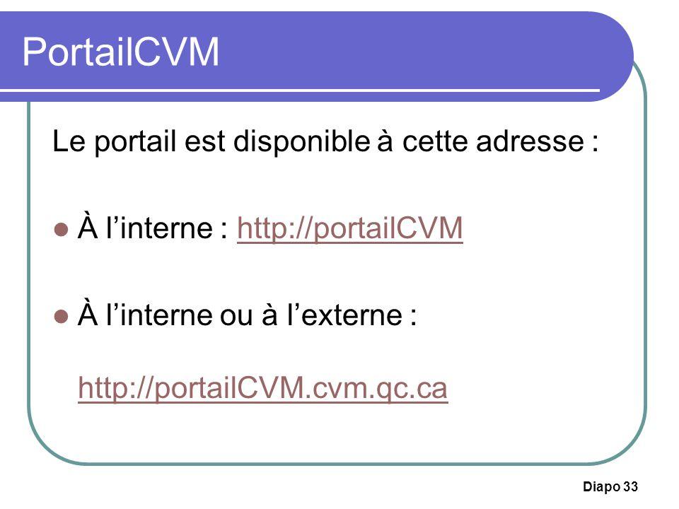 PortailCVM Le portail est disponible à cette adresse :