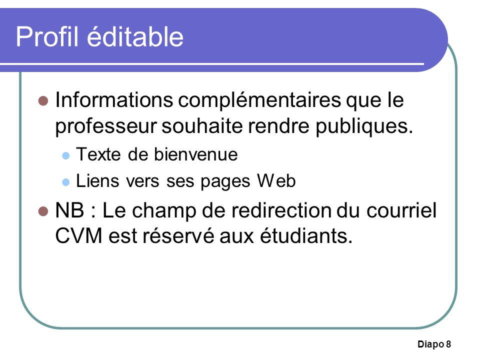 Profil éditable Informations complémentaires que le professeur souhaite rendre publiques. Texte de bienvenue.