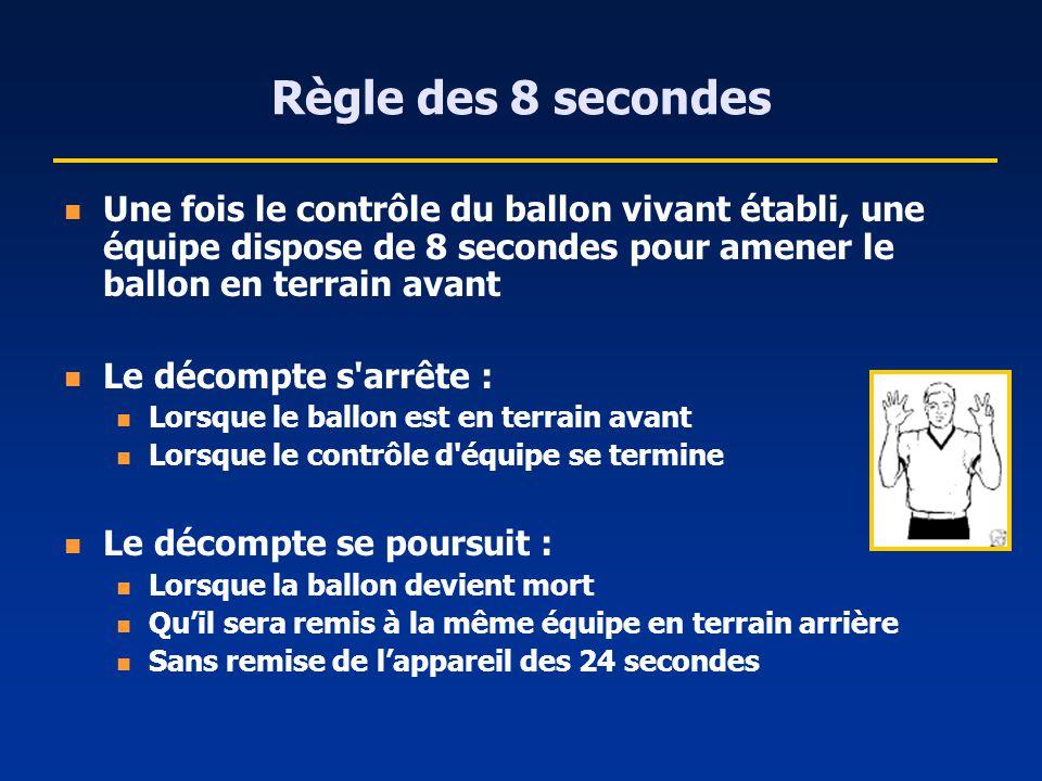 Règle des 8 secondes Une fois le contrôle du ballon vivant établi, une équipe dispose de 8 secondes pour amener le ballon en terrain avant.