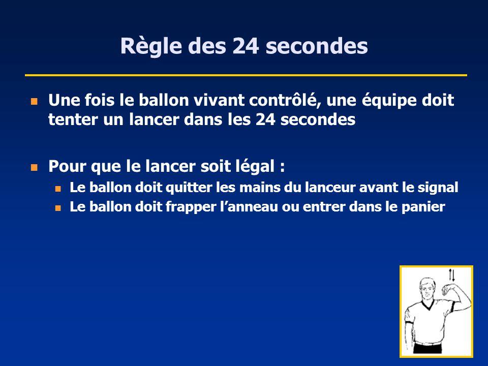 Règle des 24 secondes Une fois le ballon vivant contrôlé, une équipe doit tenter un lancer dans les 24 secondes.