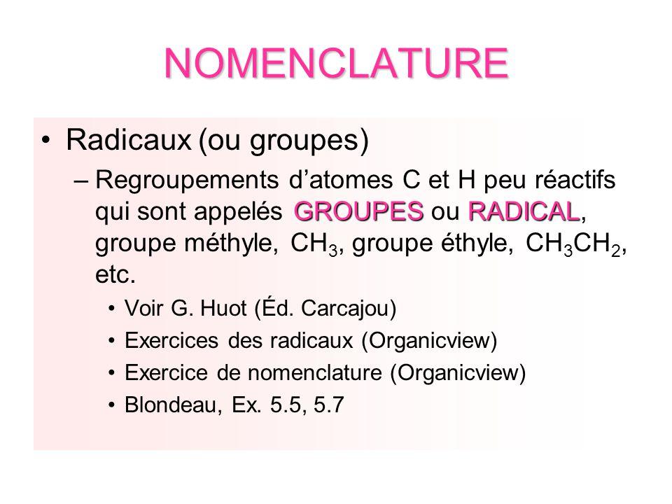 NOMENCLATURE Radicaux (ou groupes)