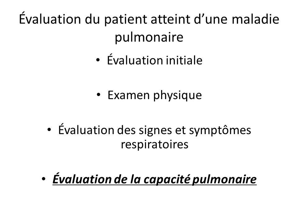 Évaluation du patient atteint d'une maladie pulmonaire