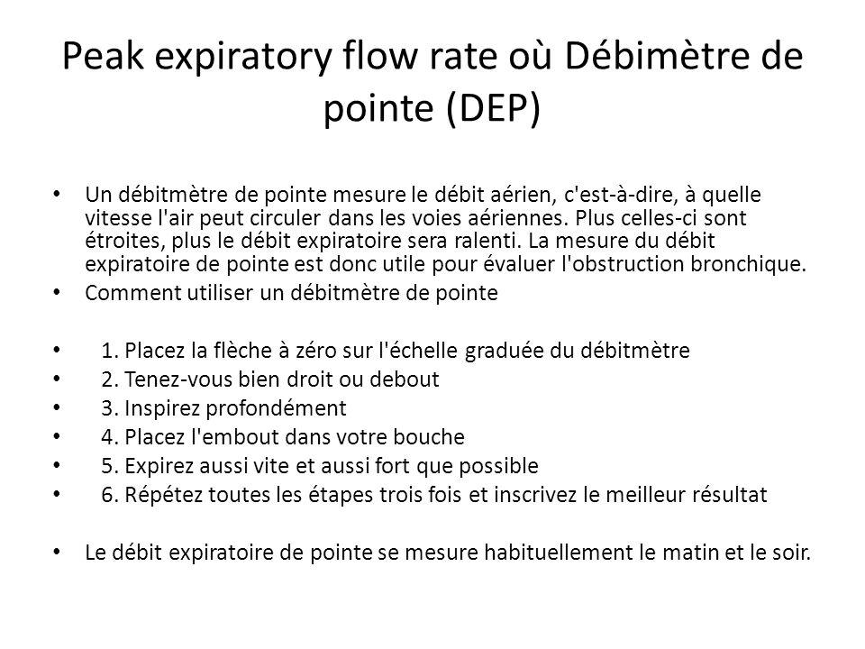 Peak expiratory flow rate où Débimètre de pointe (DEP)