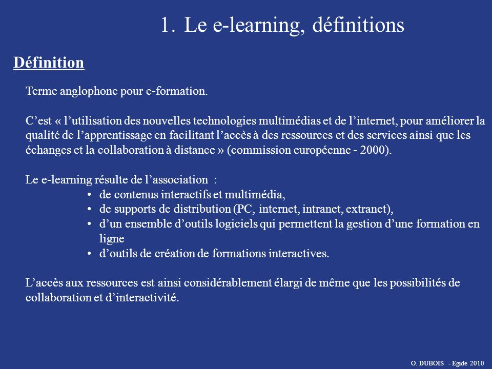 Le e-learning, définitions