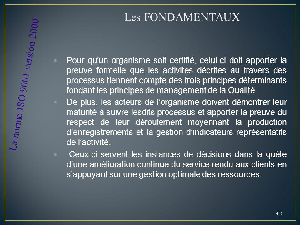 Les FONDAMENTAUX La norme ISO 9001 version 2000