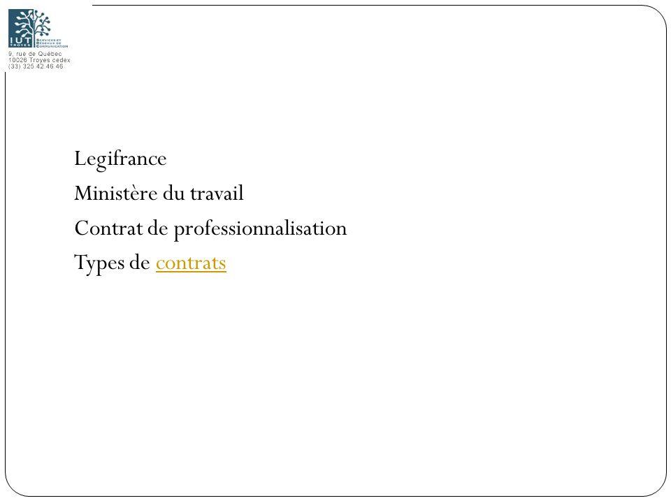 Legifrance Ministère du travail Contrat de professionnalisation Types de contrats