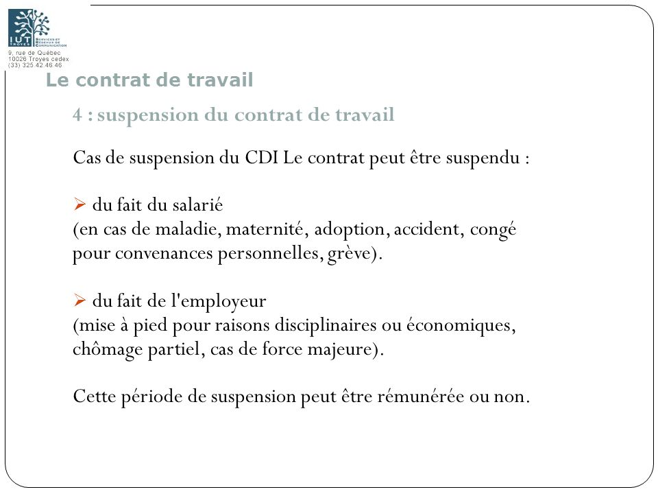 4 : suspension du contrat de travail