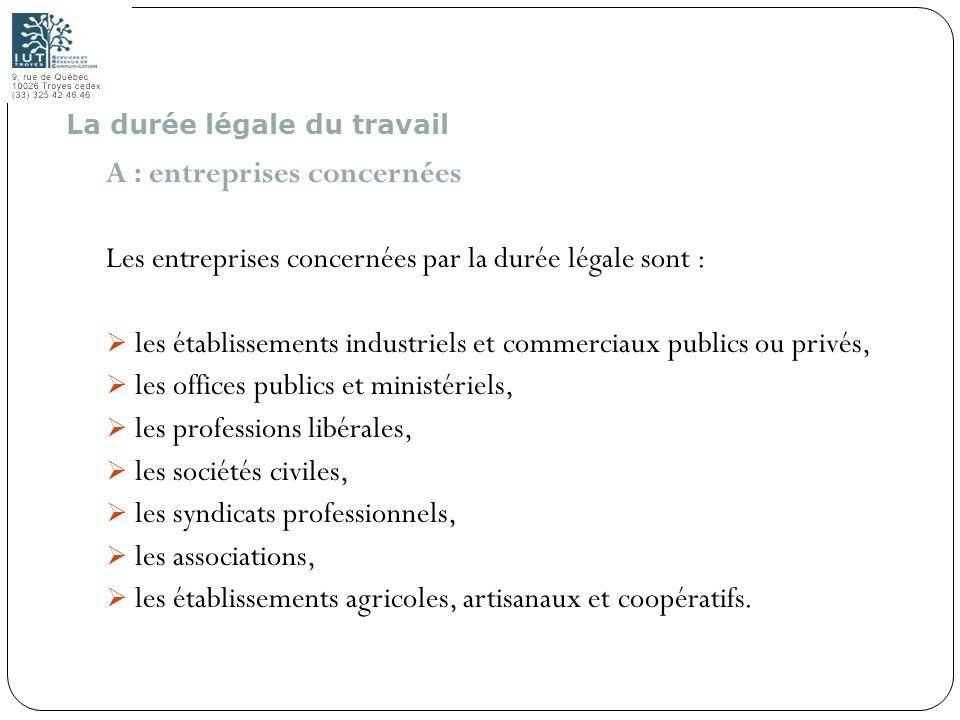 A : entreprises concernées