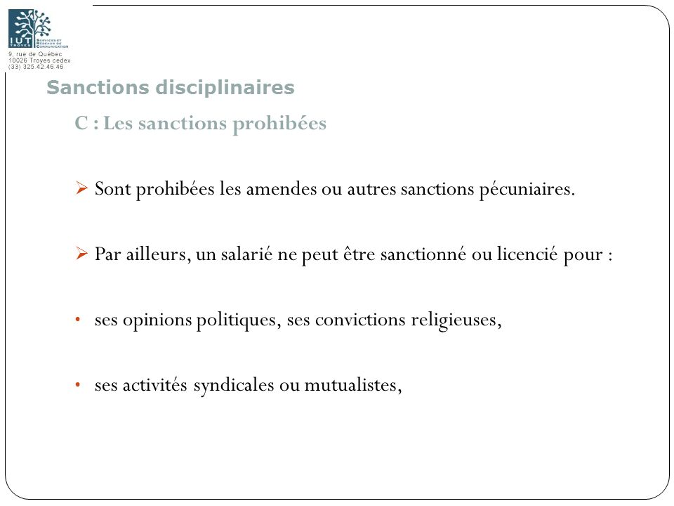 C : Les sanctions prohibées