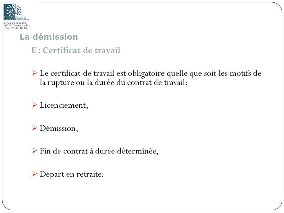 E : Certificat de travail