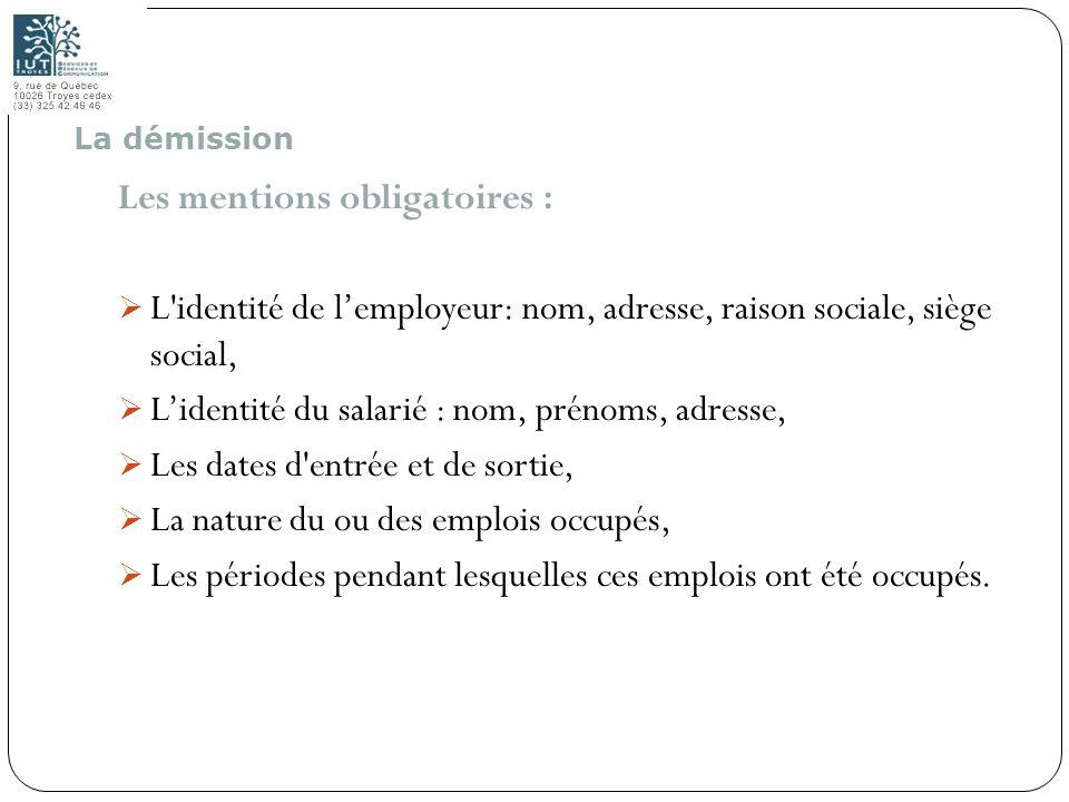 Les mentions obligatoires :