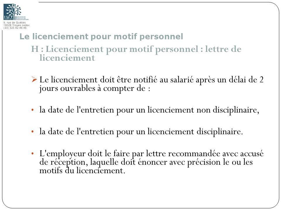 H : Licenciement pour motif personnel : lettre de licenciement
