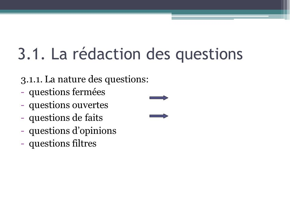 3.1. La rédaction des questions