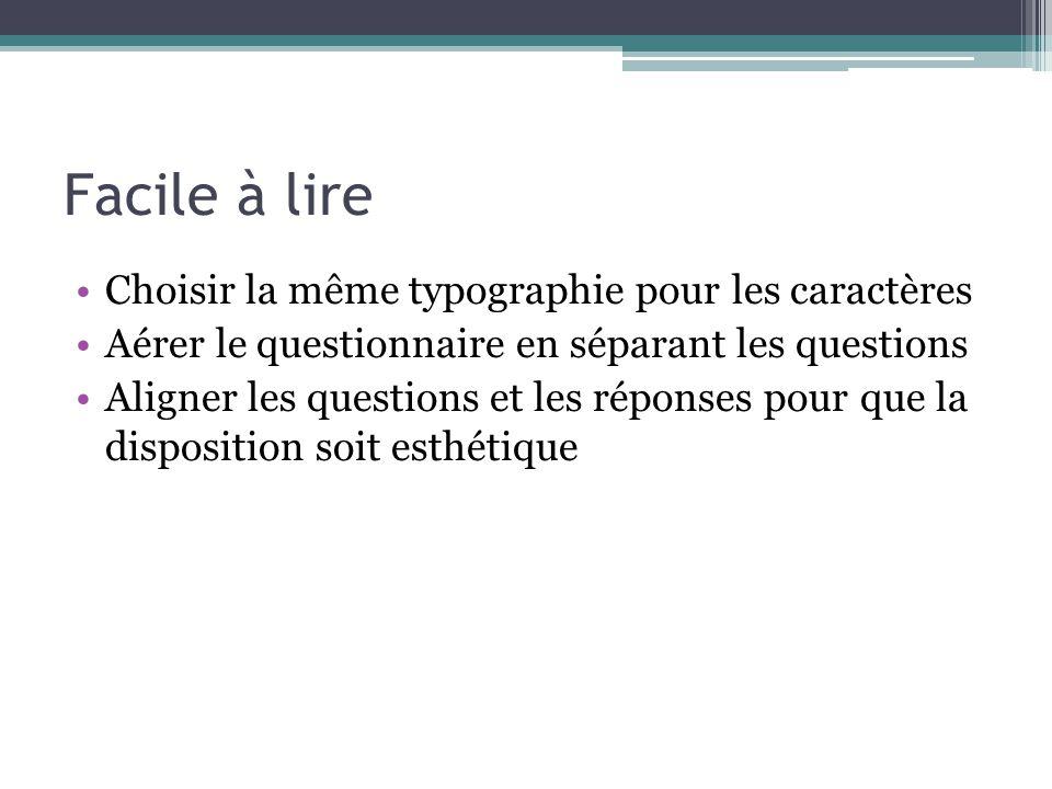 Facile à lire Choisir la même typographie pour les caractères