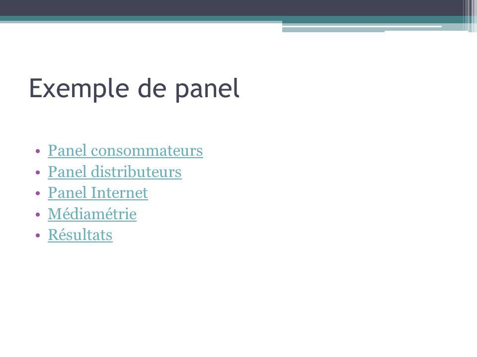 Exemple de panel Panel consommateurs Panel distributeurs