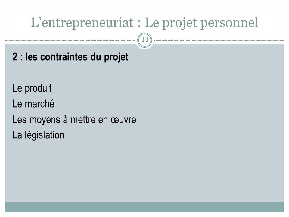 L'entrepreneuriat : Le projet personnel