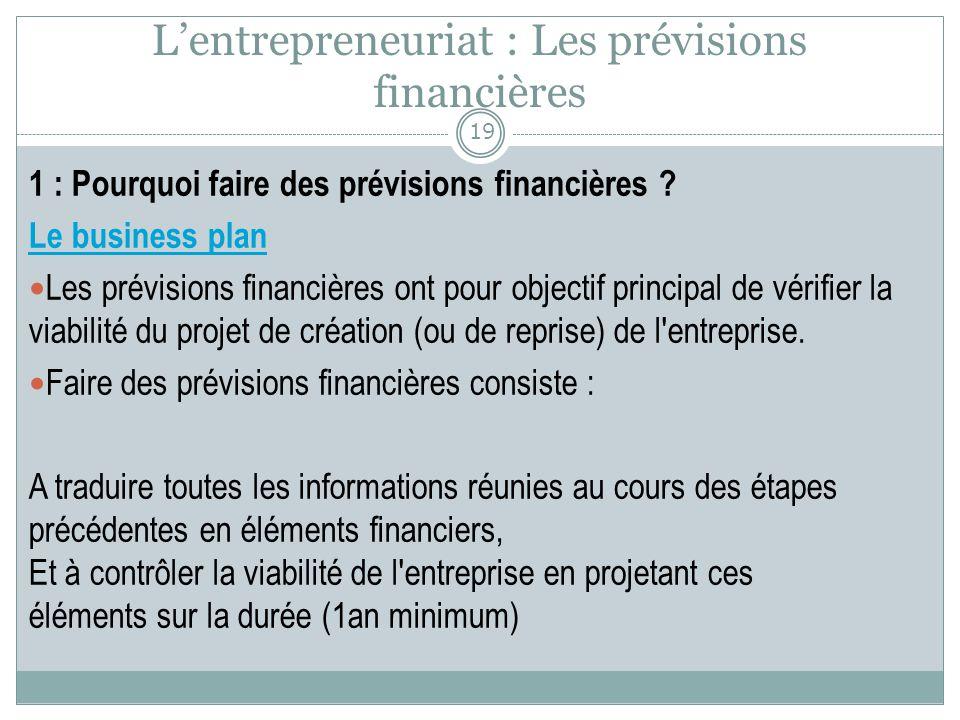 L'entrepreneuriat : Les prévisions financières