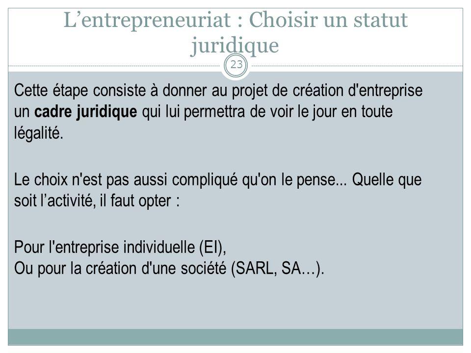 L'entrepreneuriat : Choisir un statut juridique