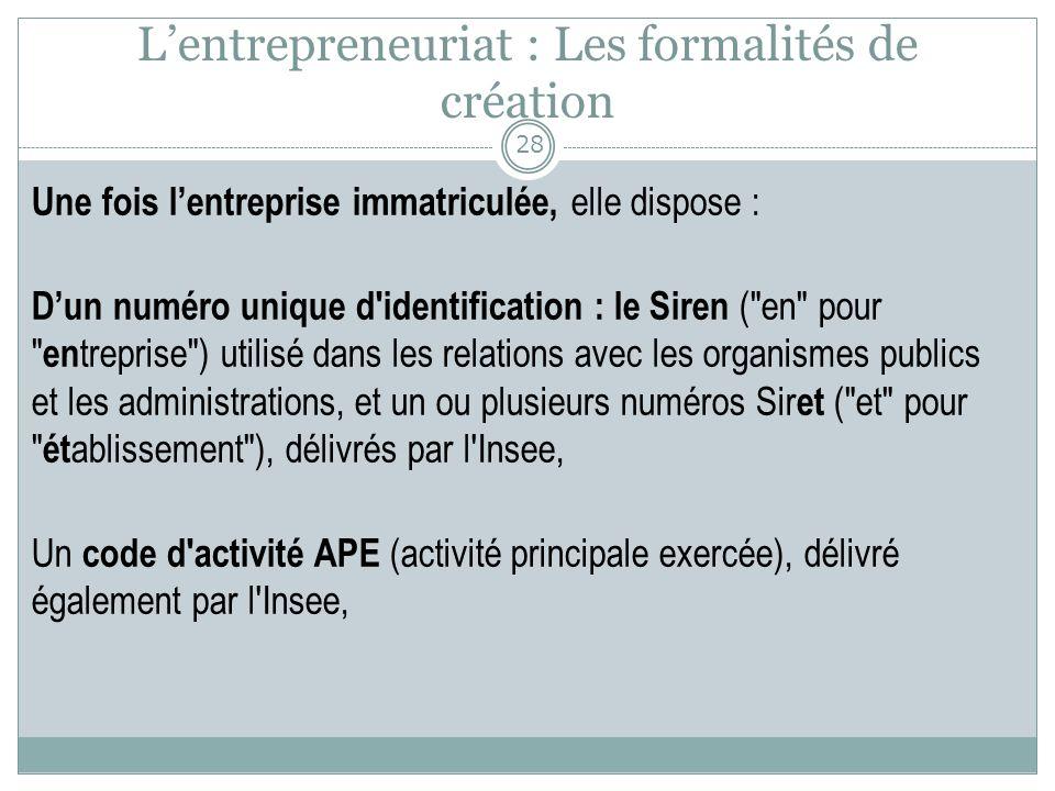 L'entrepreneuriat : Les formalités de création